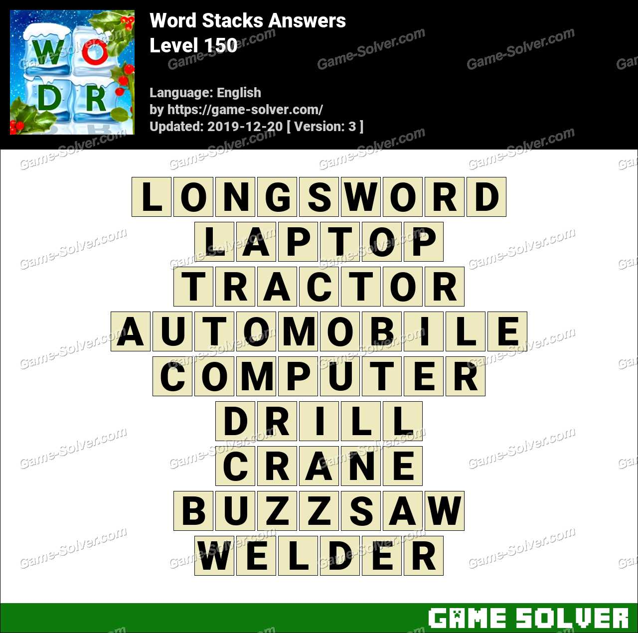 Word Stacks Level 150 Answers