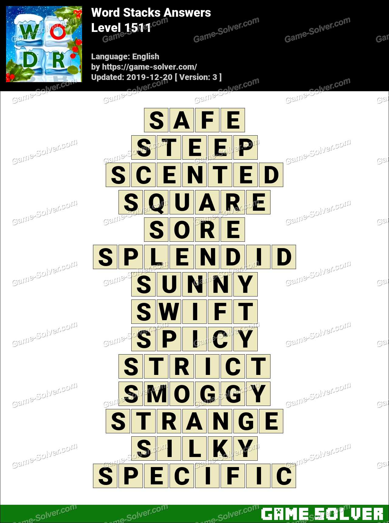 Word Stacks Level 1511 Answers