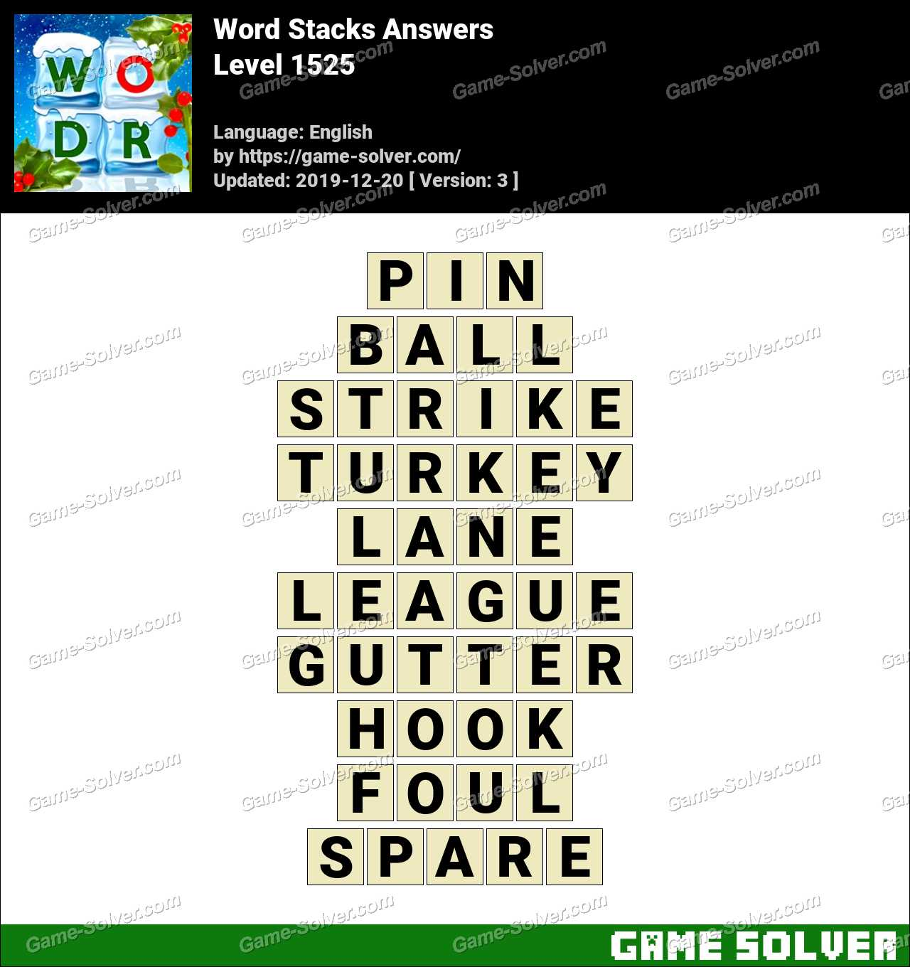 Word Stacks Level 1525 Answers