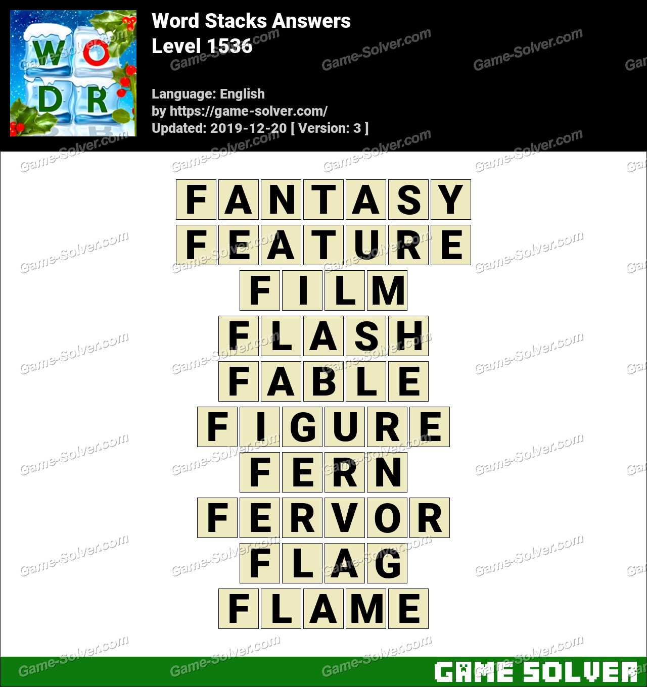 Word Stacks Level 1536 Answers