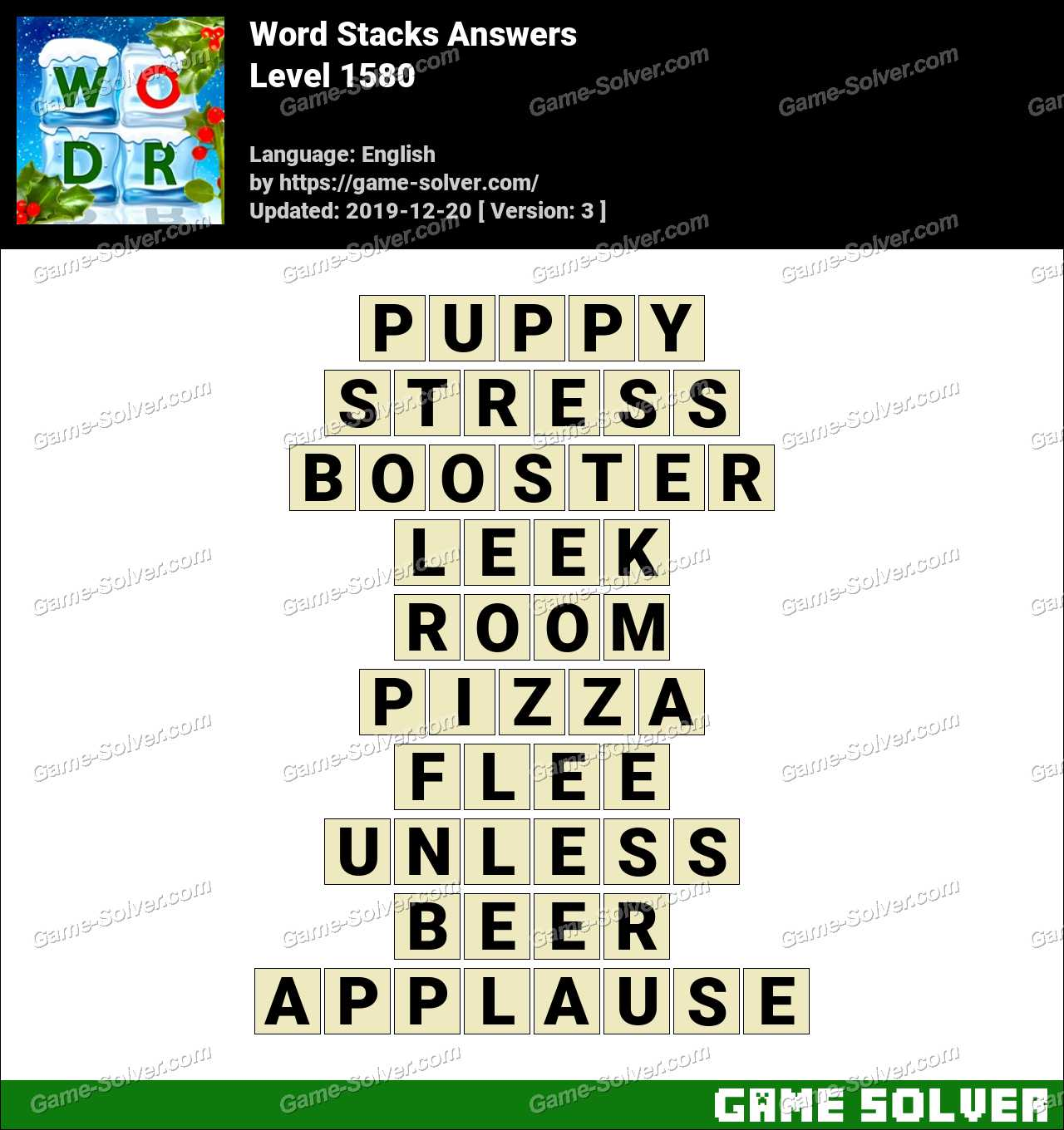 Word Stacks Level 1580 Answers