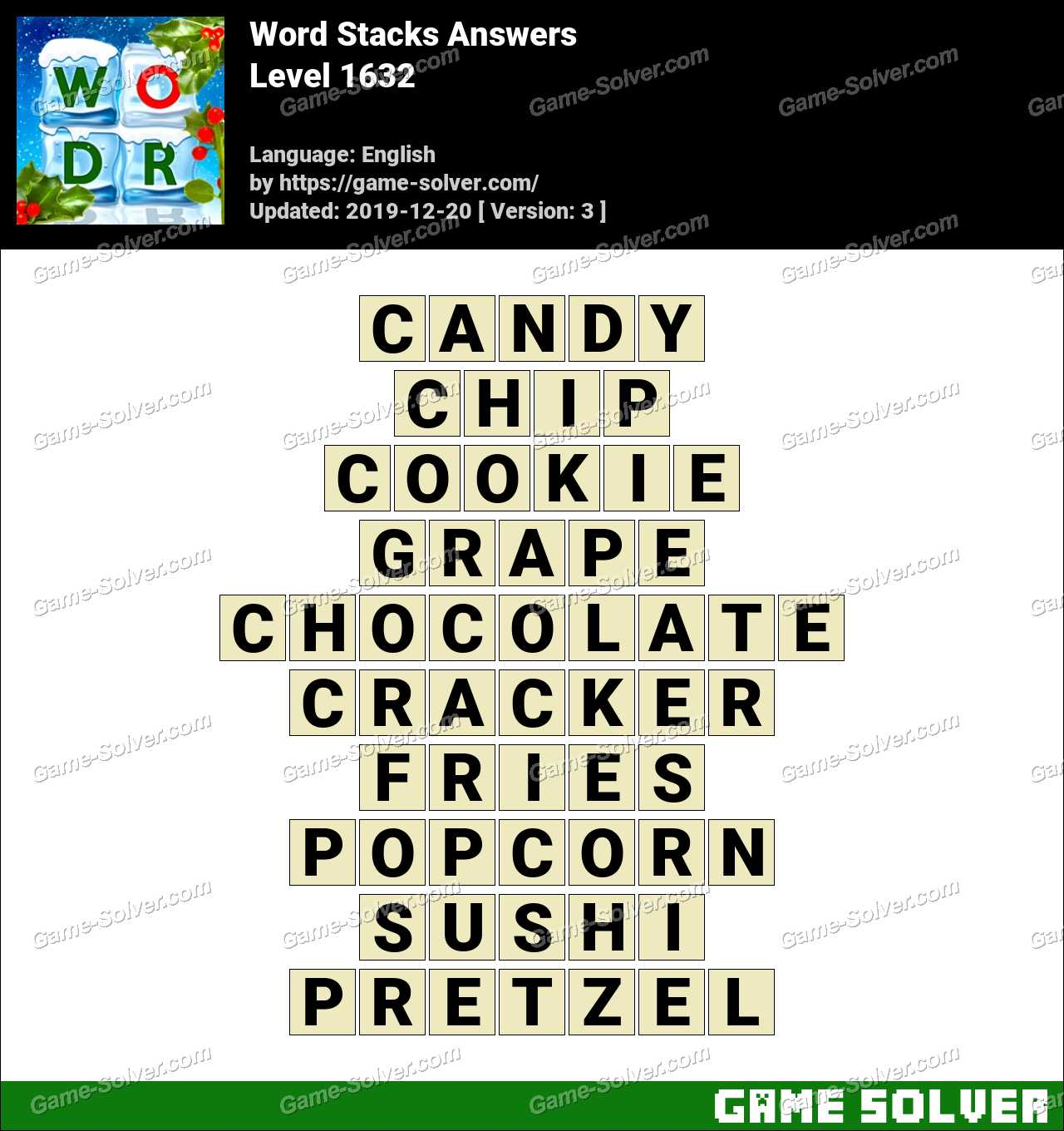 Word Stacks Level 1632 Answers