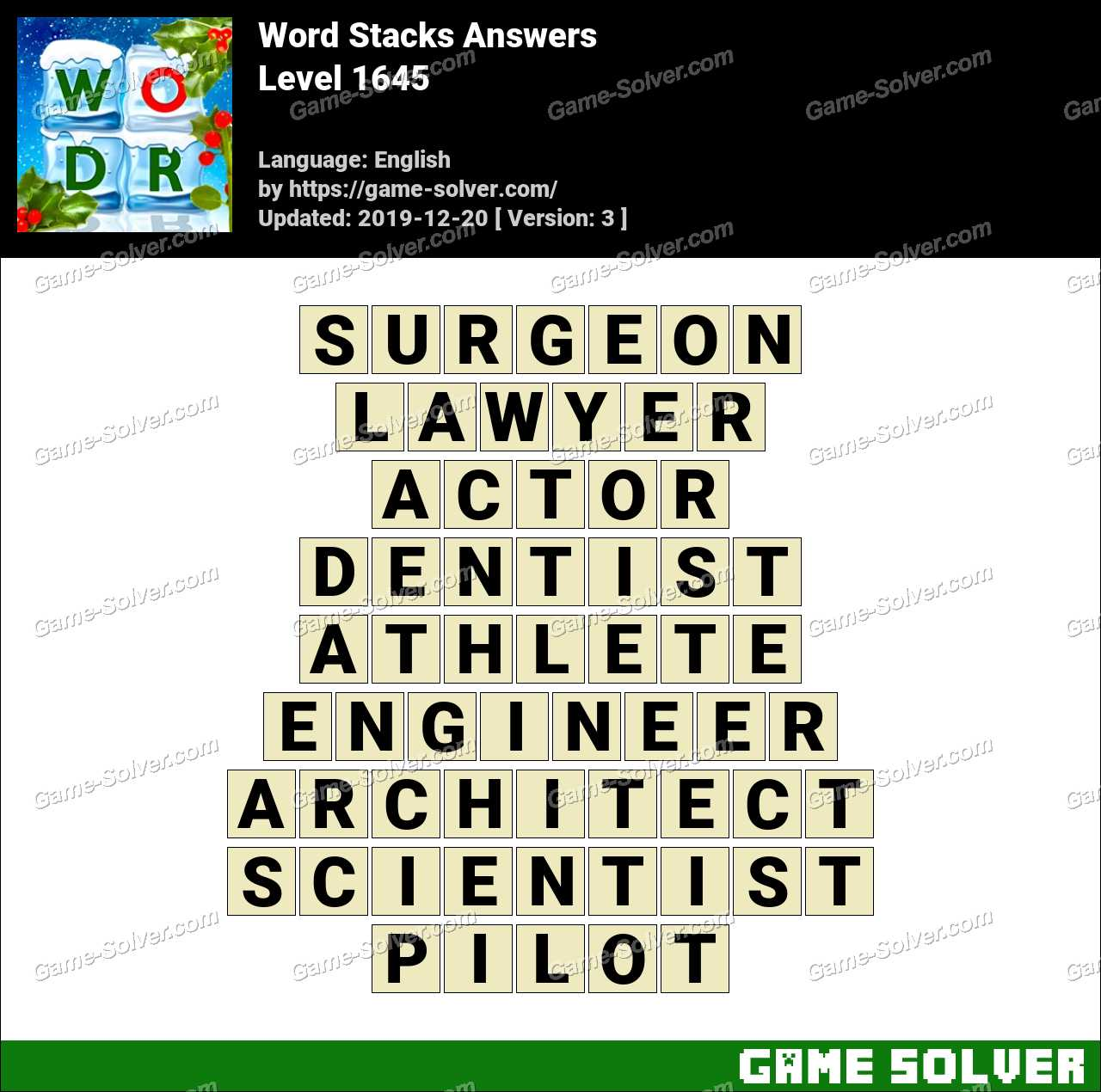 Word Stacks Level 1645 Answers