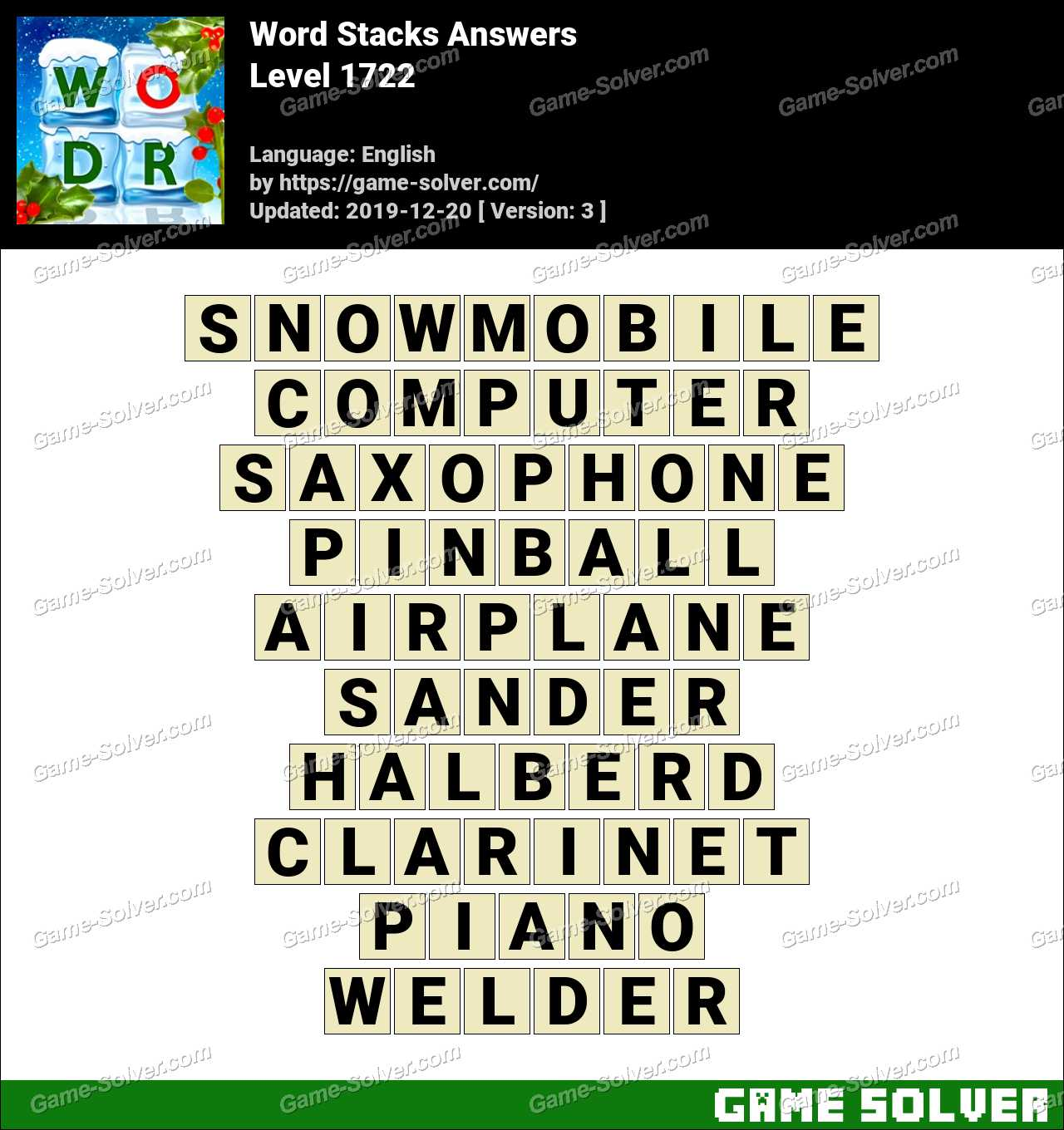 Word Stacks Level 1722 Answers