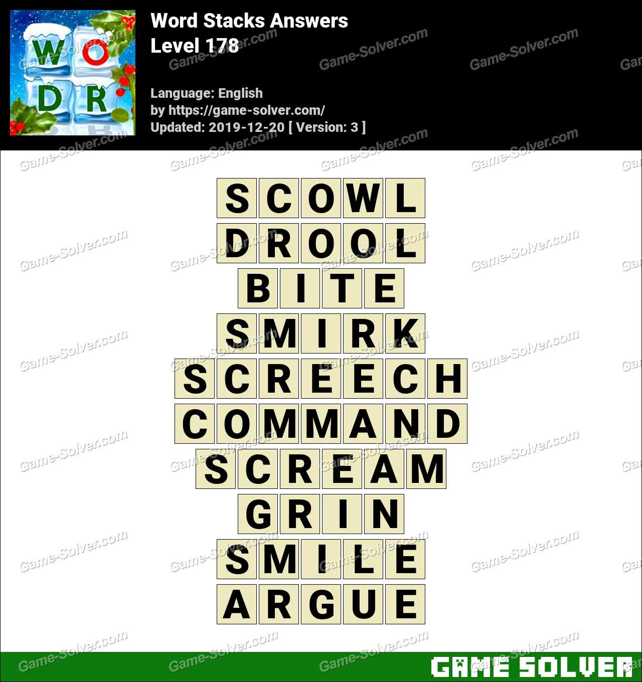 Word Stacks Level 178 Answers