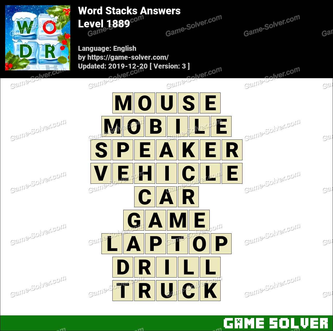 Word Stacks Level 1889 Answers