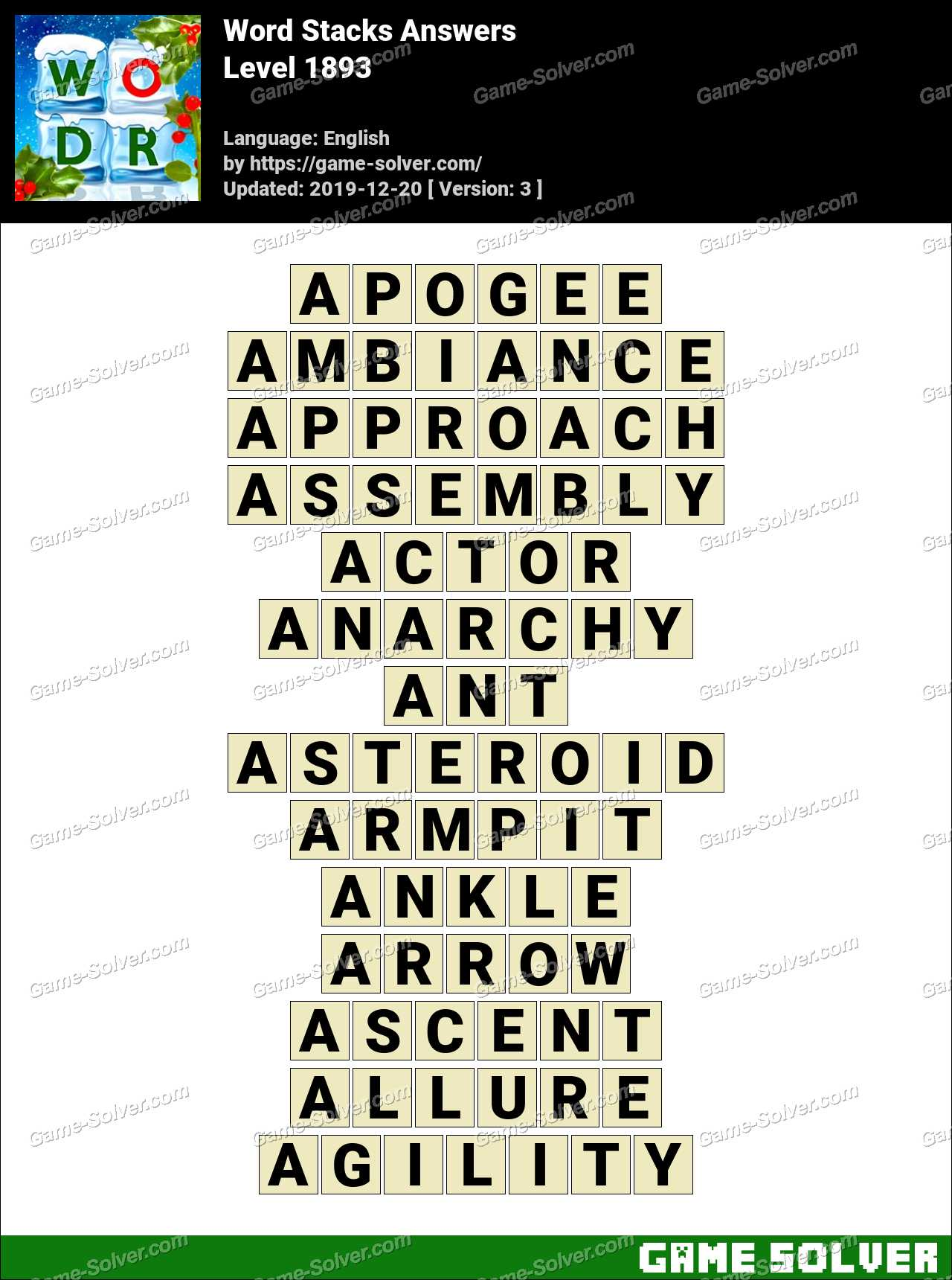 Word Stacks Level 1893 Answers