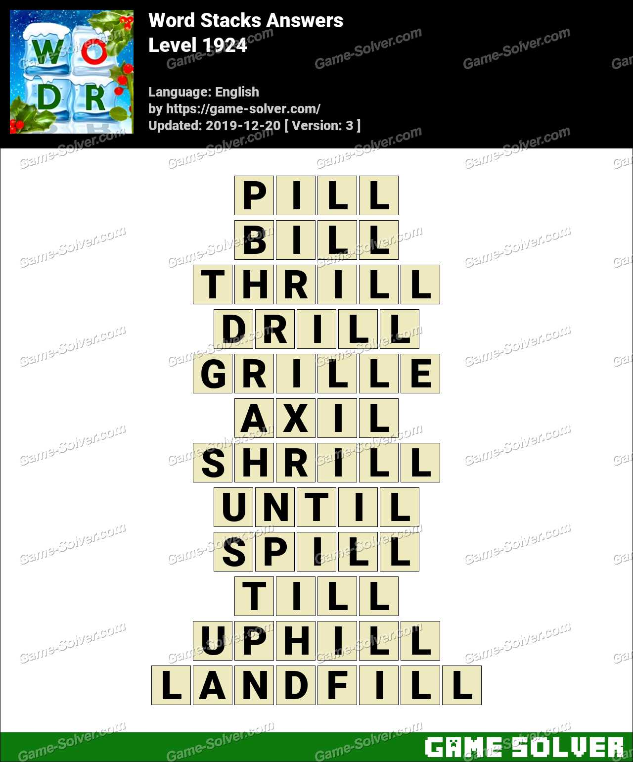 Word Stacks Level 1924 Answers