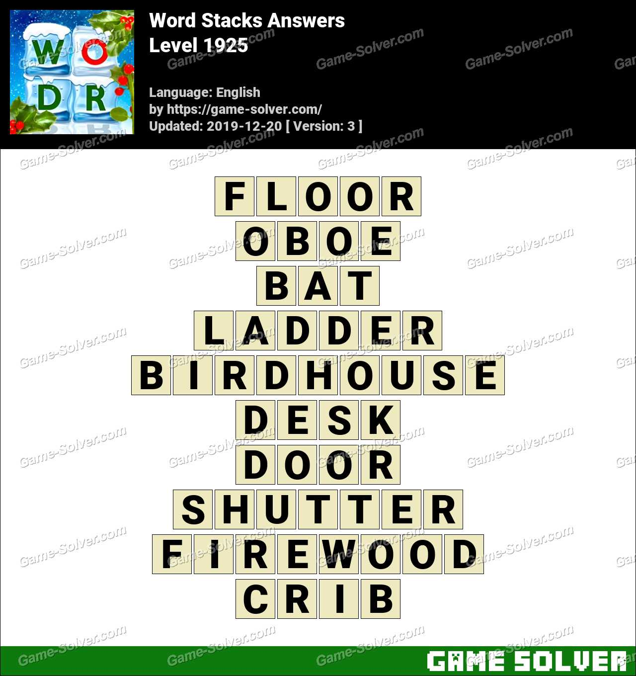 Word Stacks Level 1925 Answers