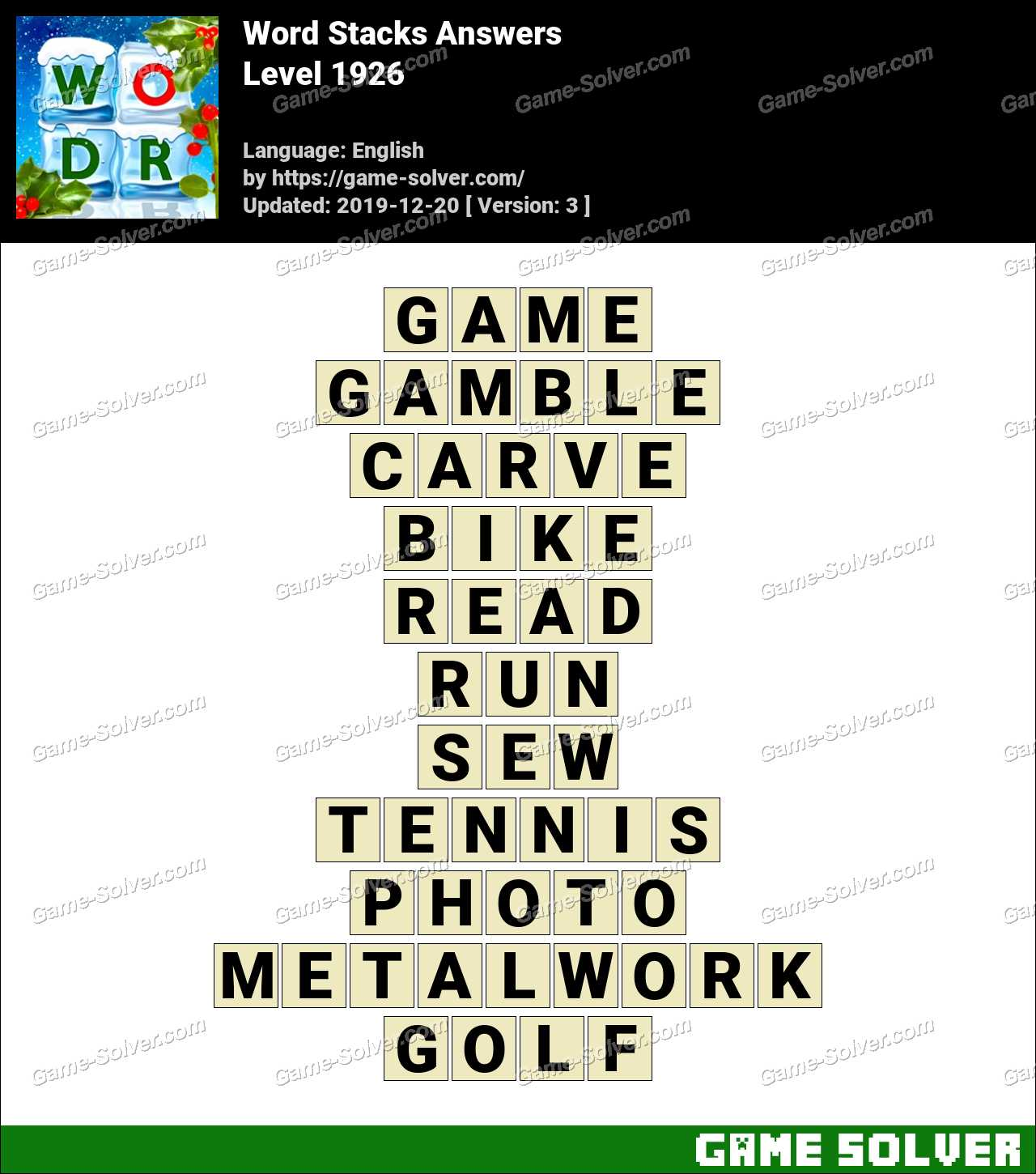 Word Stacks Level 1926 Answers