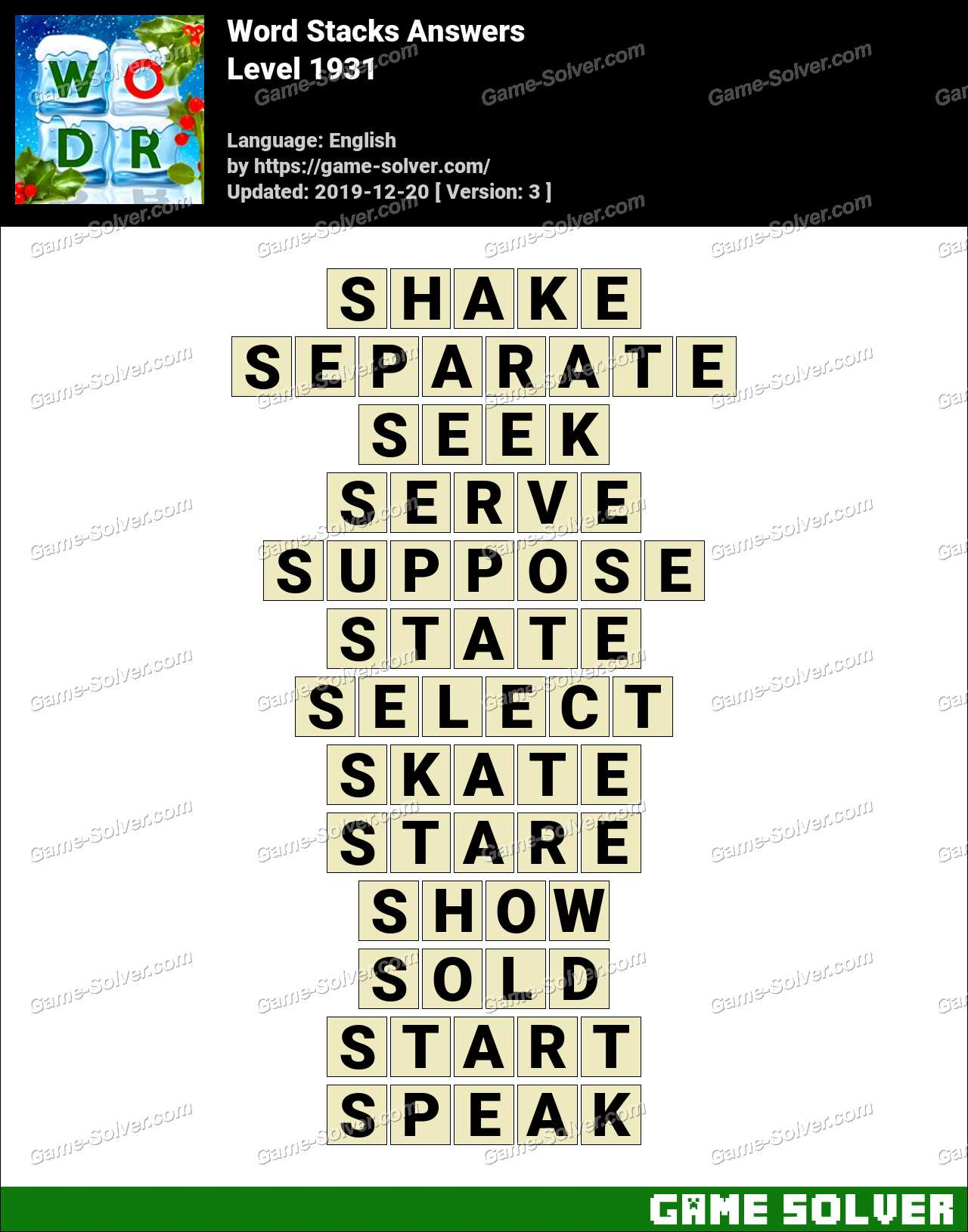 Word Stacks Level 1931 Answers