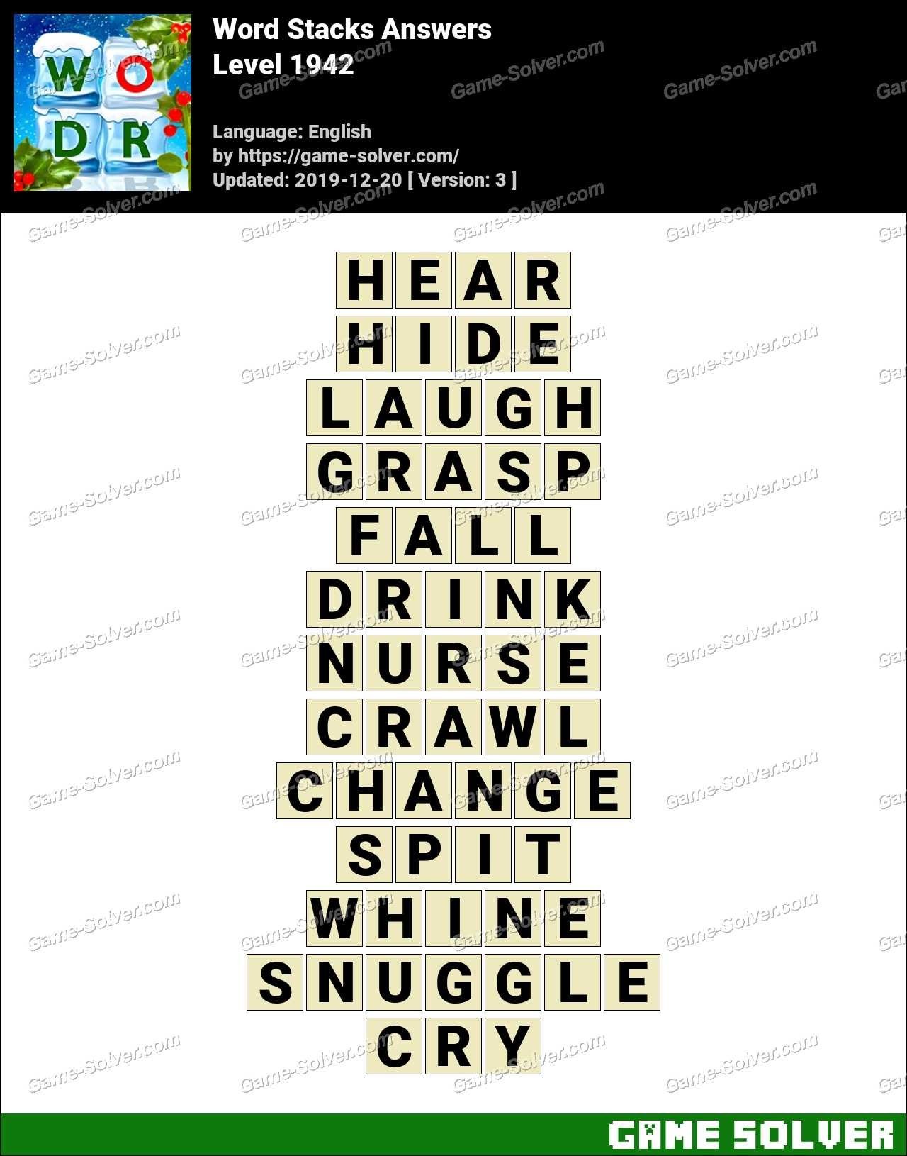 Word Stacks Level 1942 Answers