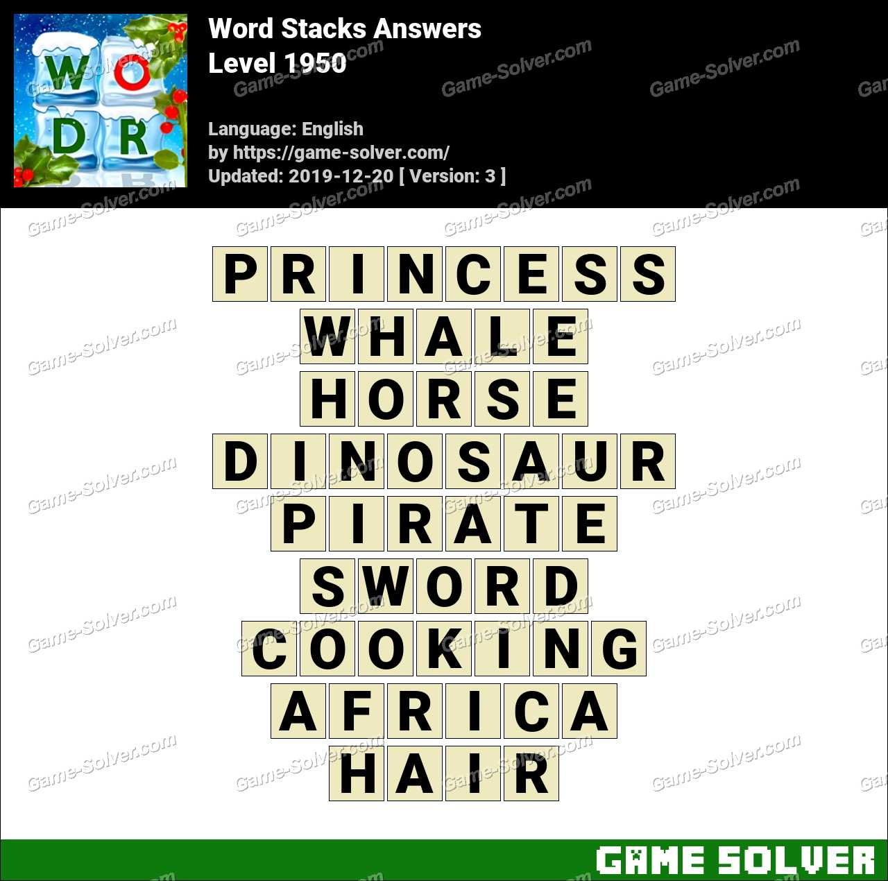 Word Stacks Level 1950 Answers