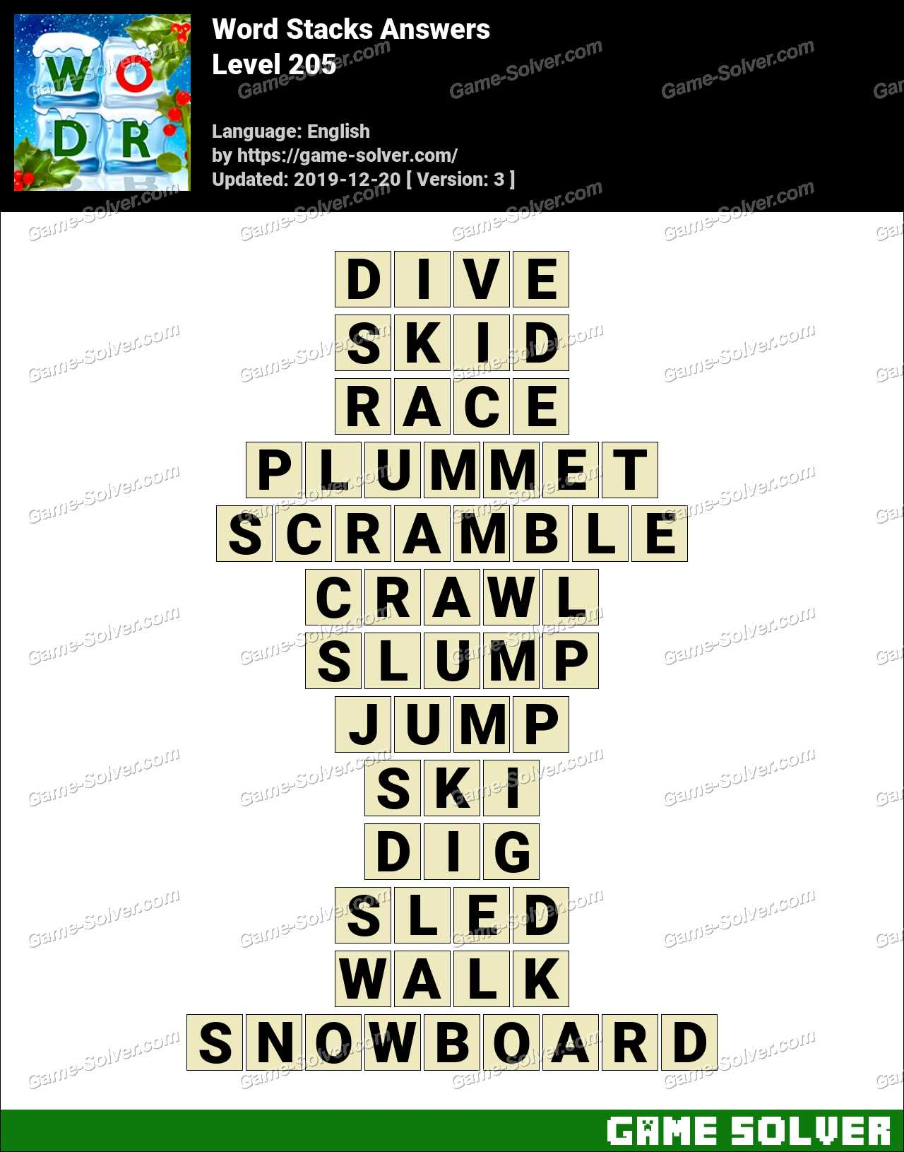 Word Stacks Level 205 Answers