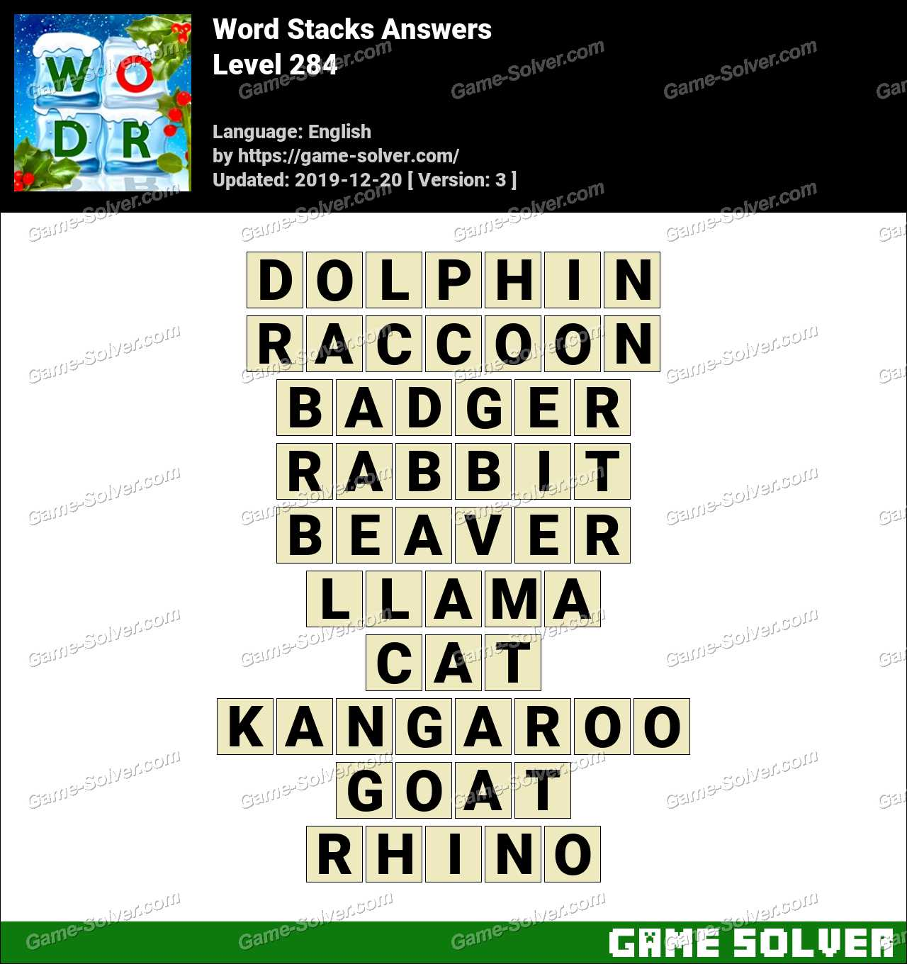 Word Stacks Level 284 Answers