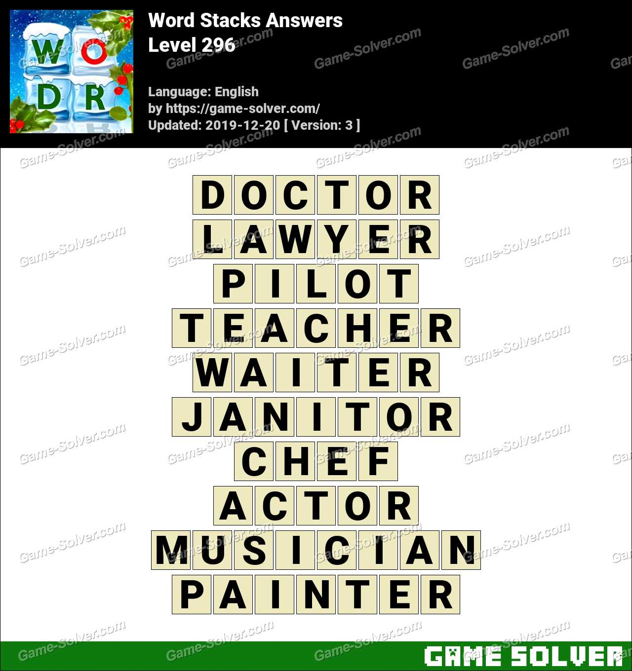 Word Stacks Level 296 Answers