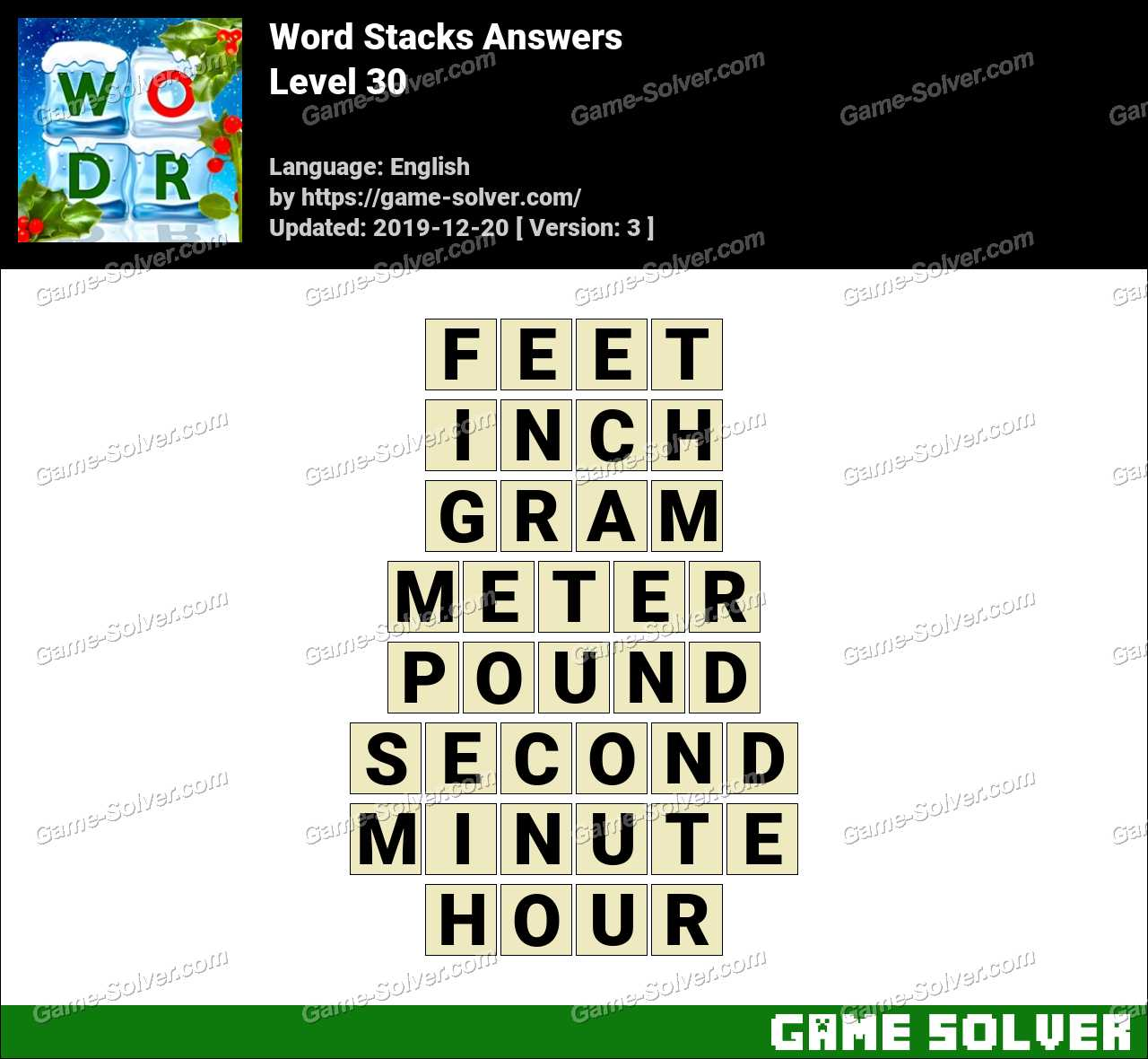 Word Stacks Level 30 Answers