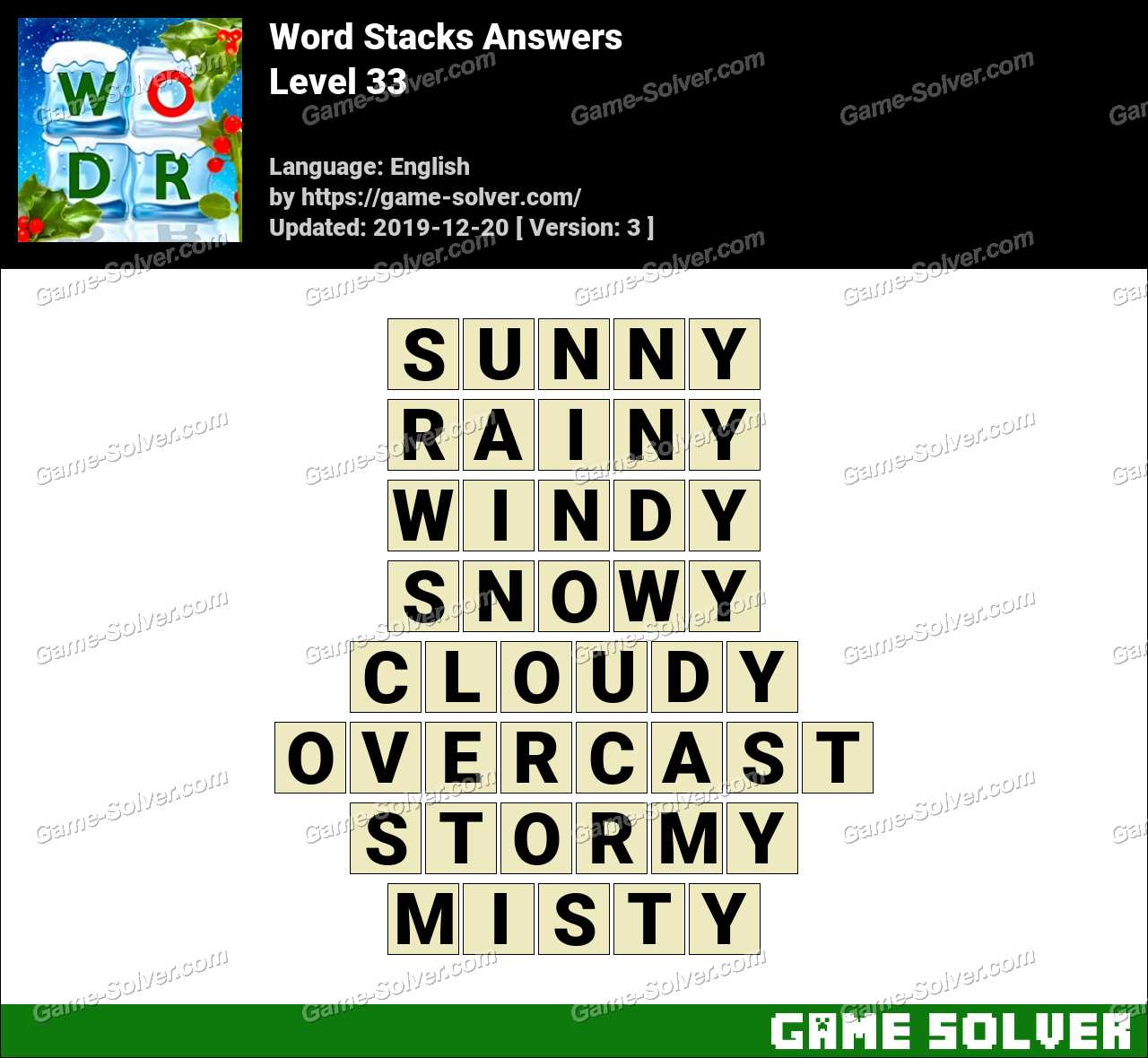Word Stacks Level 33 Answers