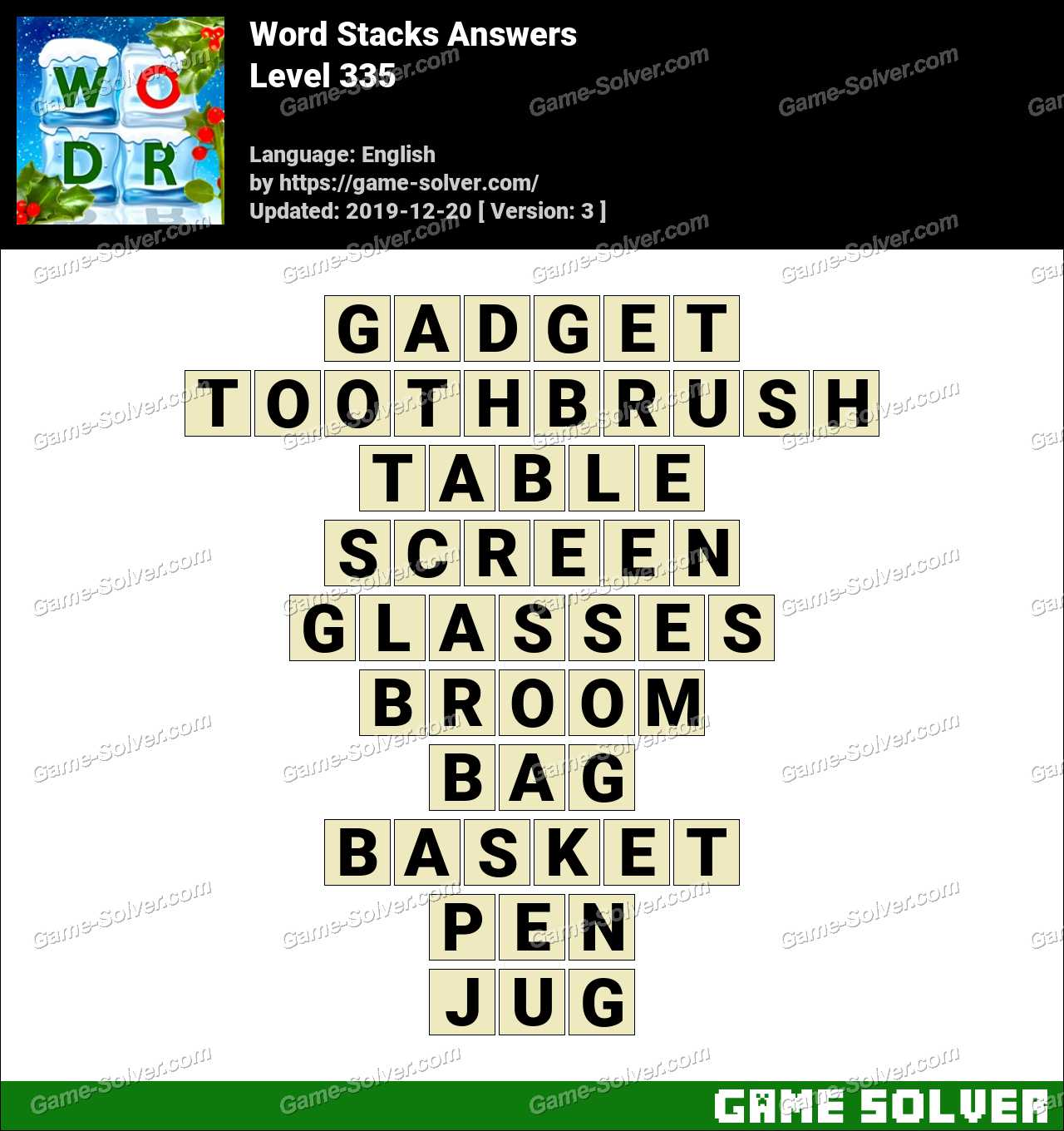 Word Stacks Level 335 Answers