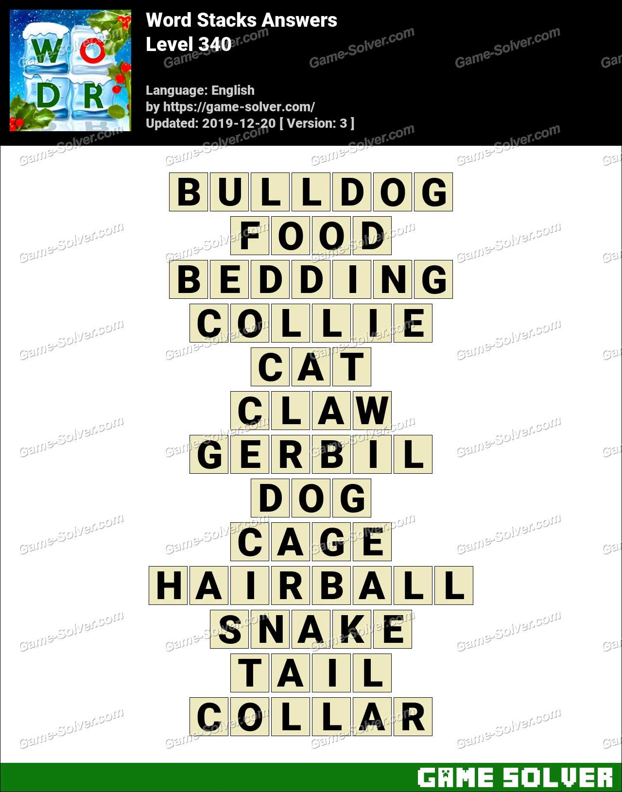 Word Stacks Level 340 Answers