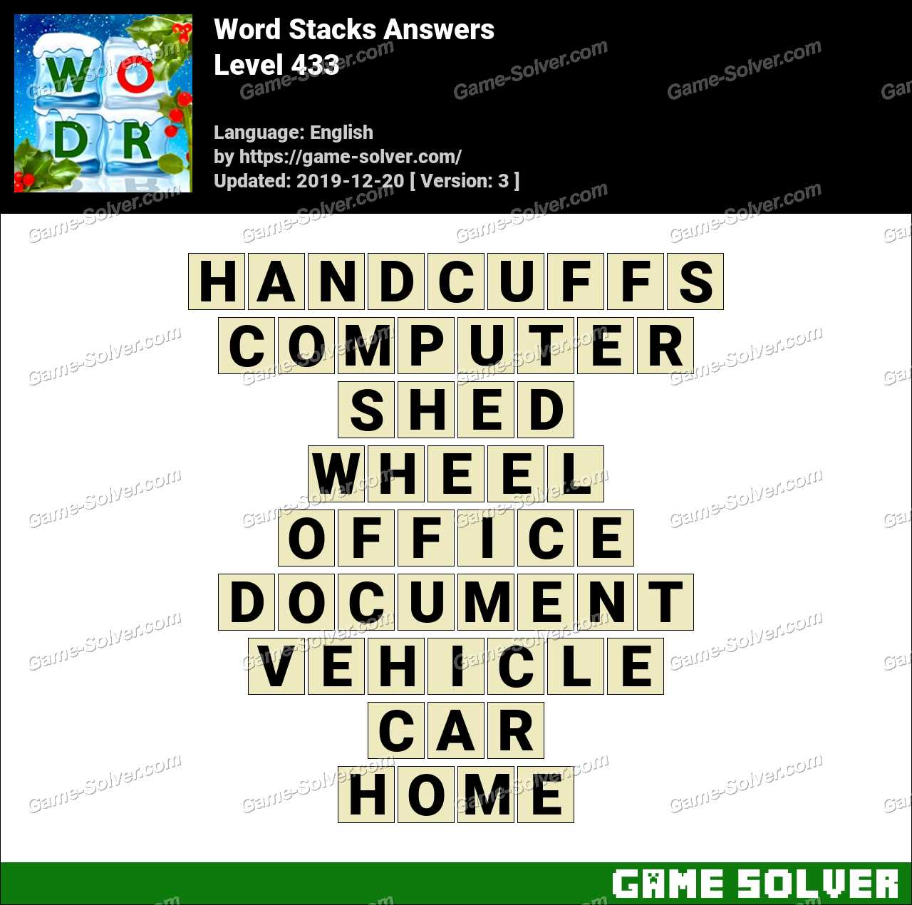 Word Stacks Level 433 Answers