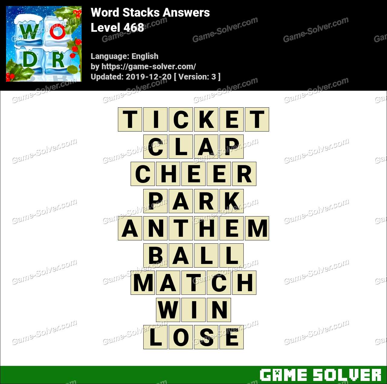 Word Stacks Level 468 Answers