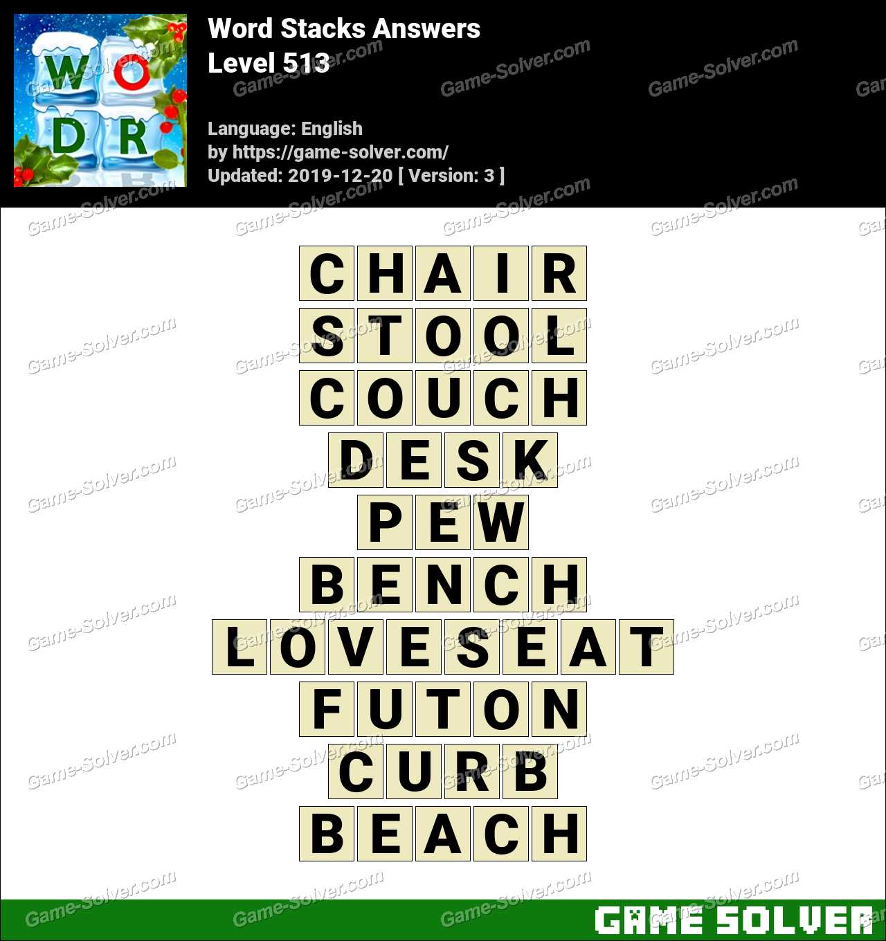 Word Stacks Level 513 Answers