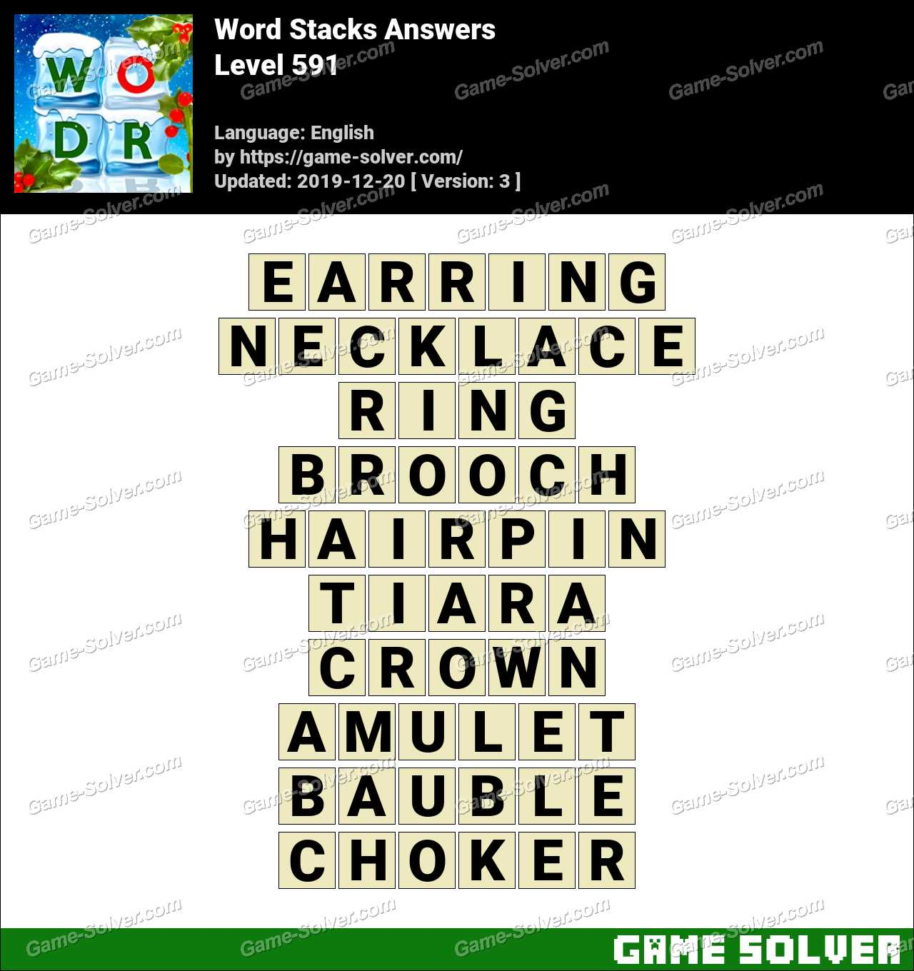 Word Stacks Level 591 Answers