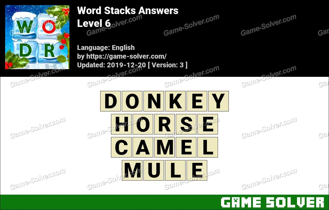 Word Stacks Level 6 Answers