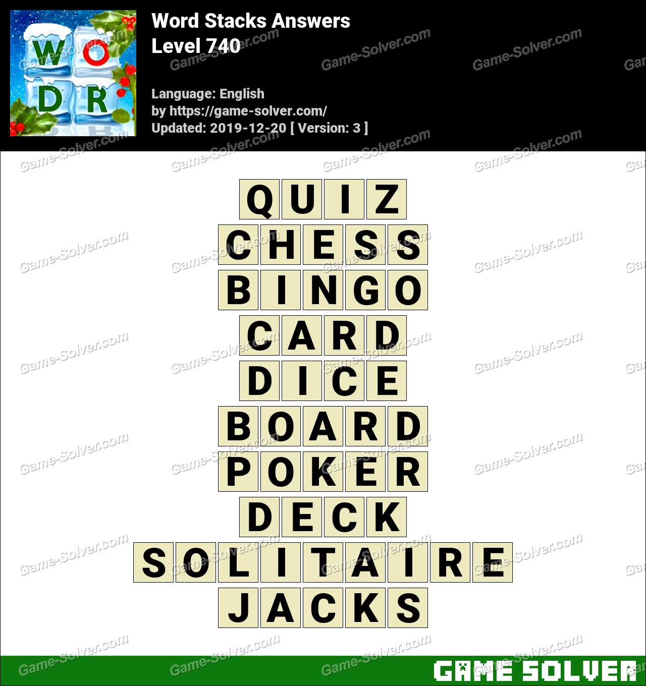 Word Stacks Level 740 Answers