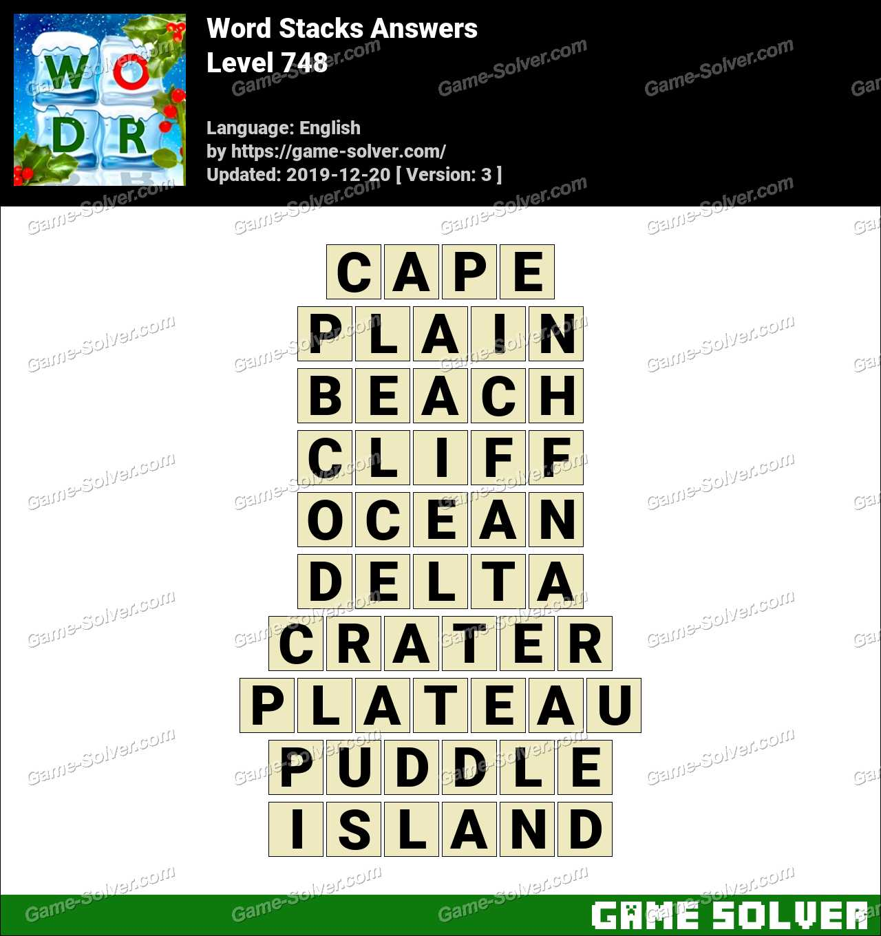 Word Stacks Level 748 Answers