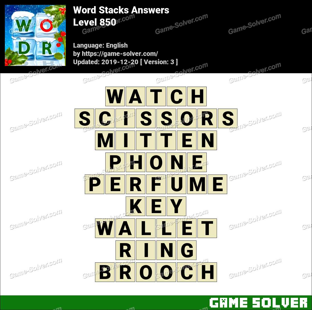 Word Stacks Level 850 Answers
