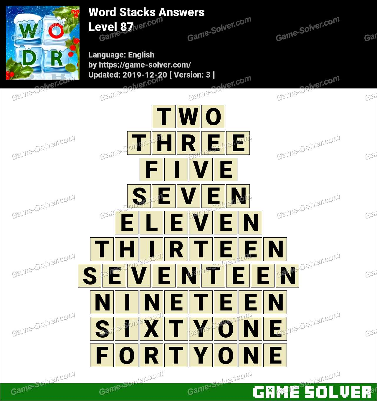 Word Stacks Level 87 Answers