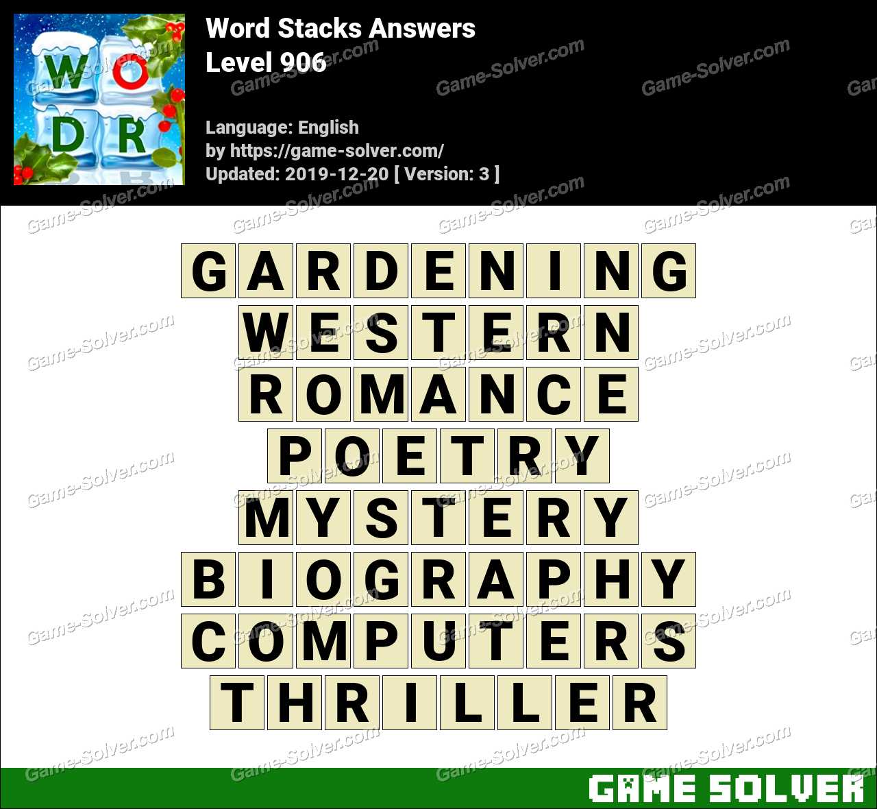 Word Stacks Level 906 Answers