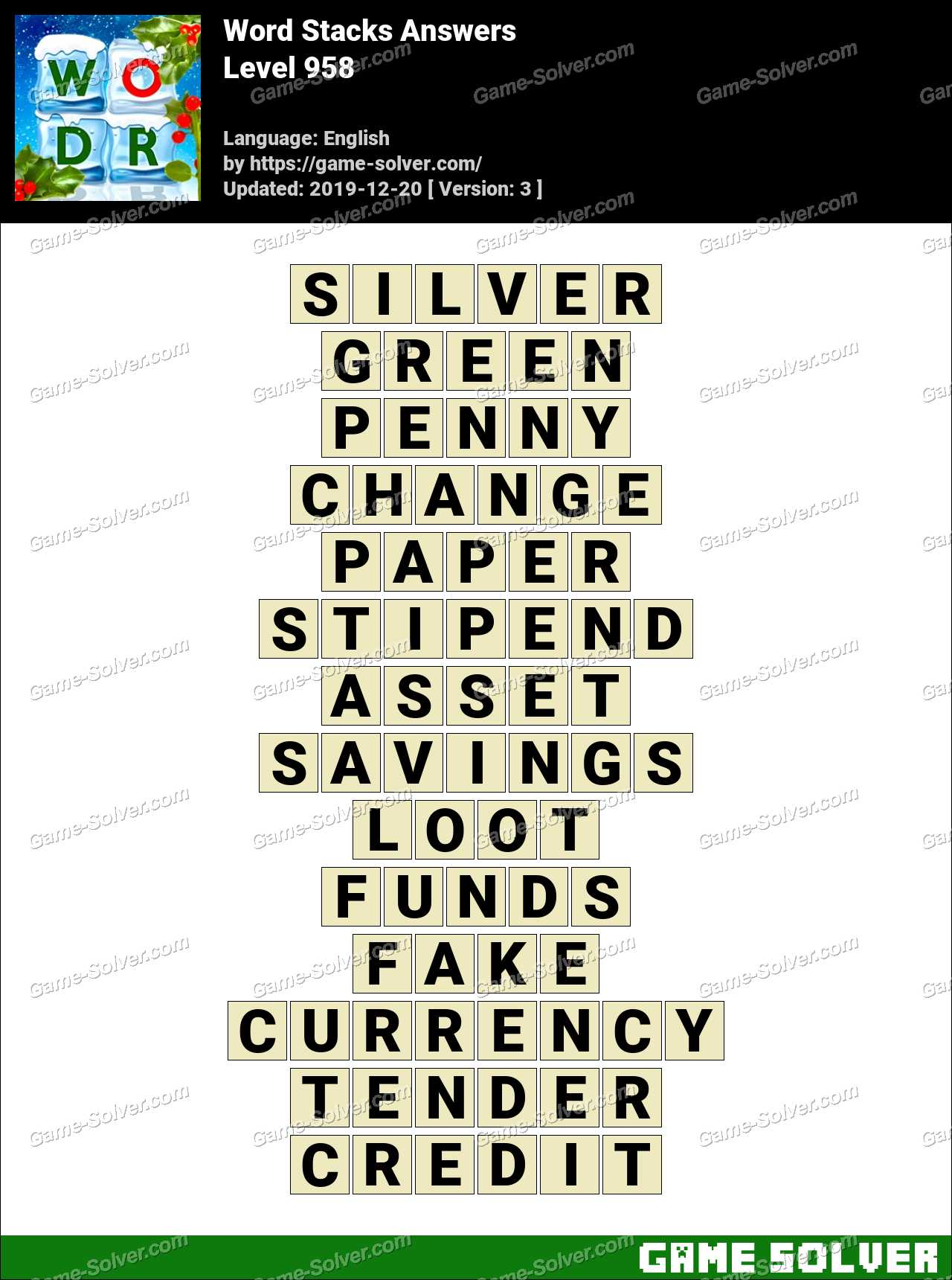 Word Stacks Level 958 Answers
