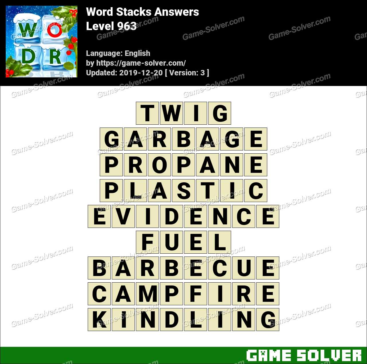 Word Stacks Level 963 Answers