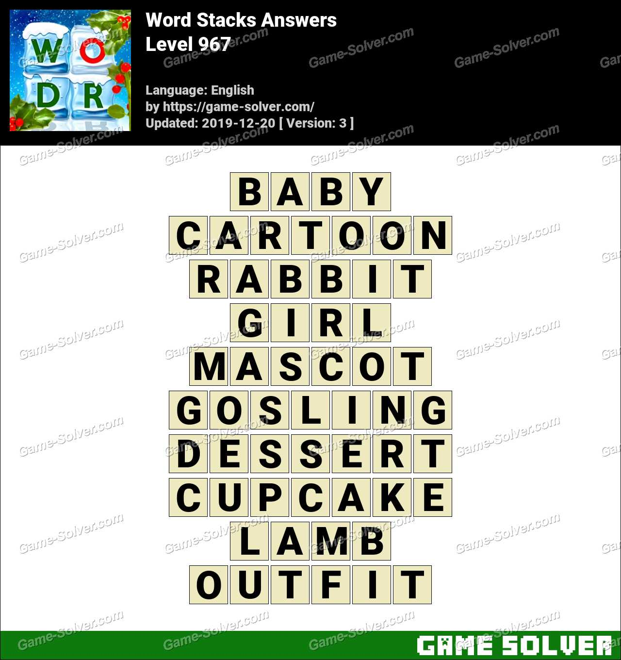 Word Stacks Level 967 Answers
