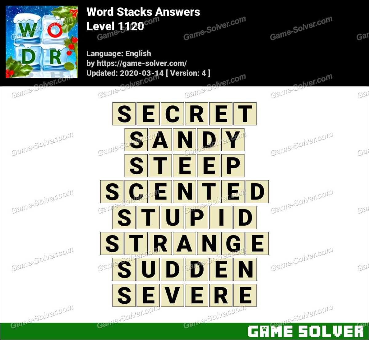 Word Stacks Level 1120 Answers