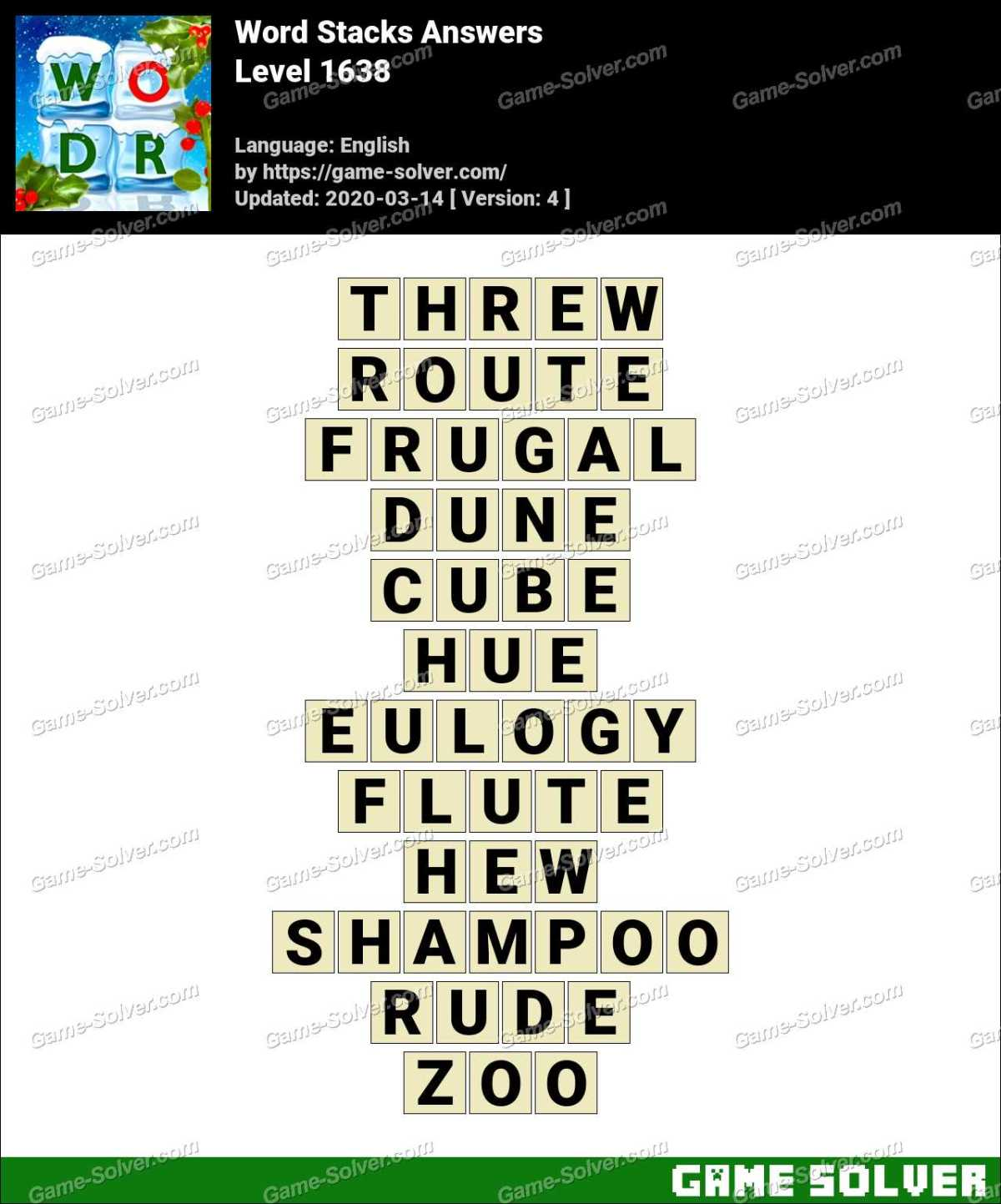 Word Stacks Level 1638 Answers