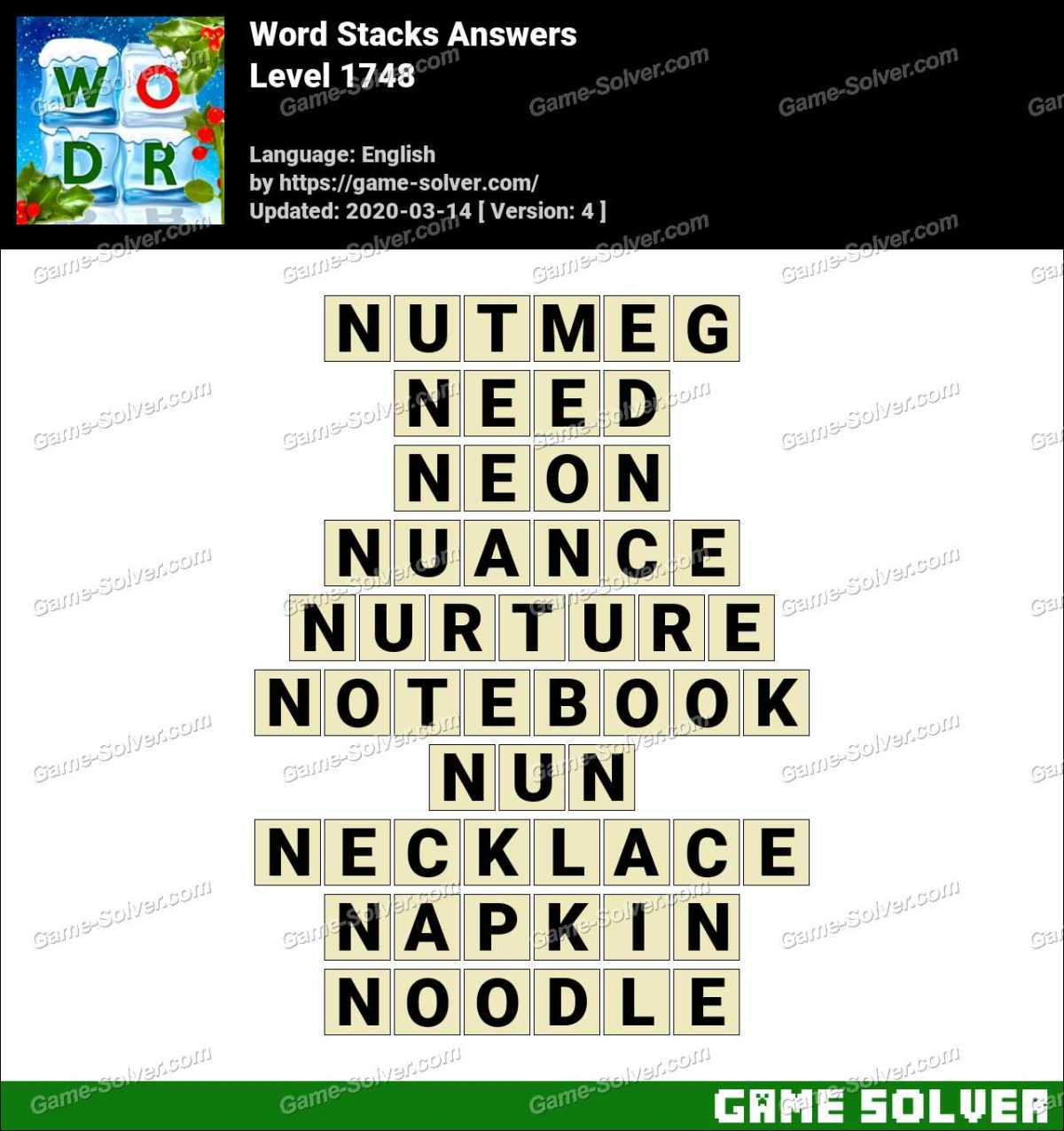Word Stacks Level 1748 Answers