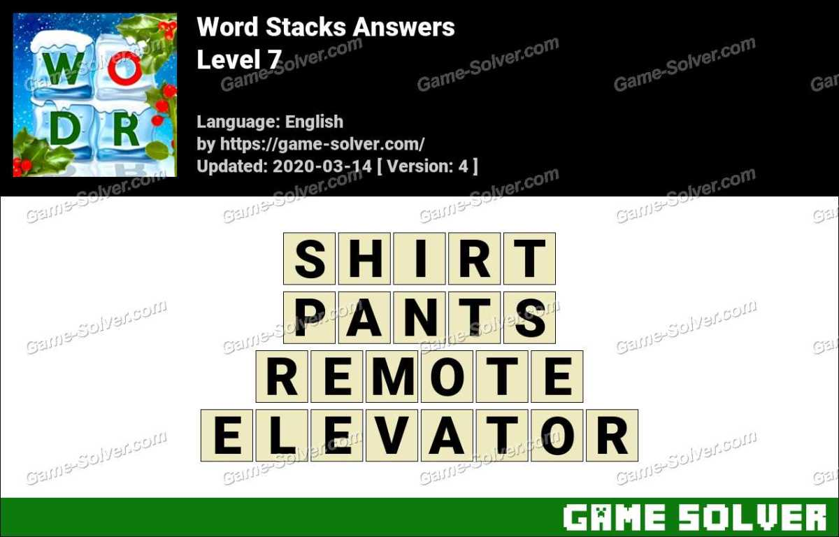 Word Stacks Level 7 Answers