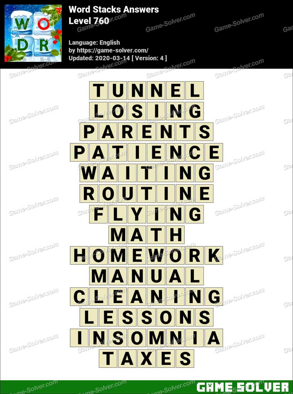 Word Stacks Level 760 Answers