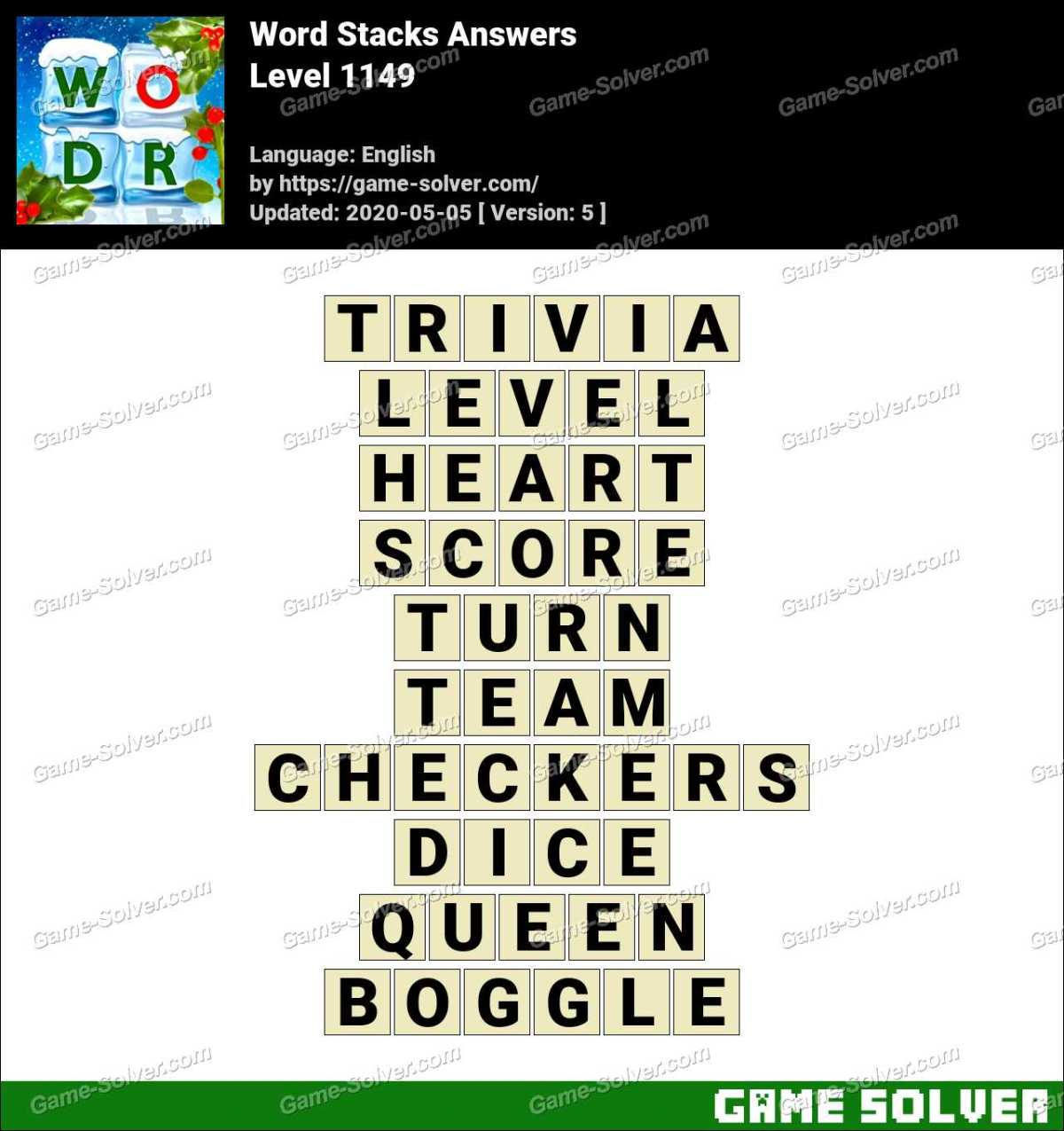 Word Stacks Level 1149 Answers