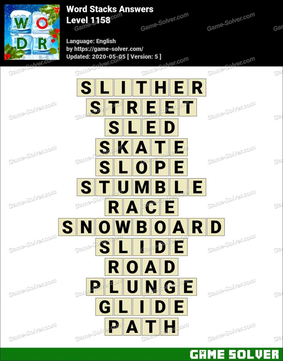 Word Stacks Level 1158 Answers