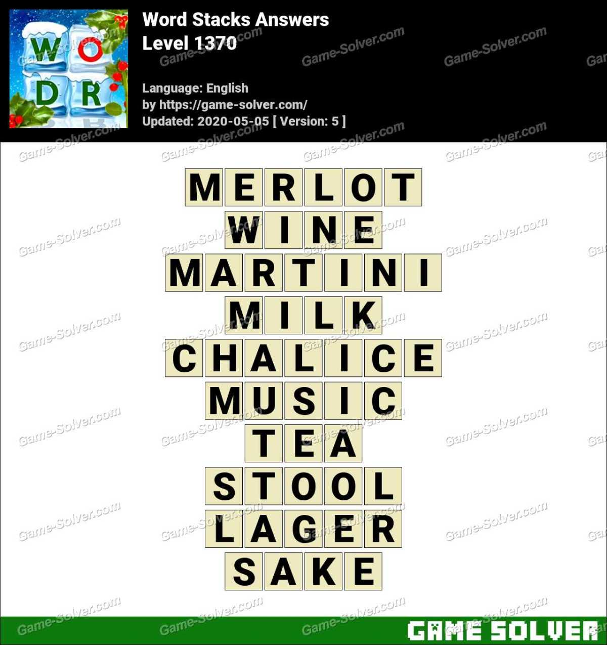 Word Stacks Level 1370 Answers