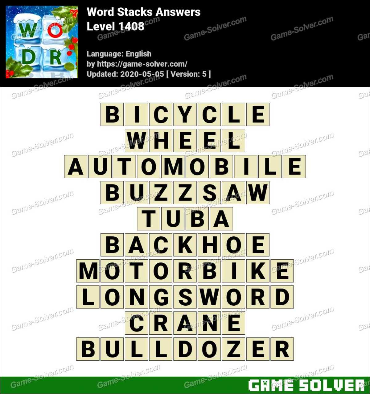 Word Stacks Level 1408 Answers