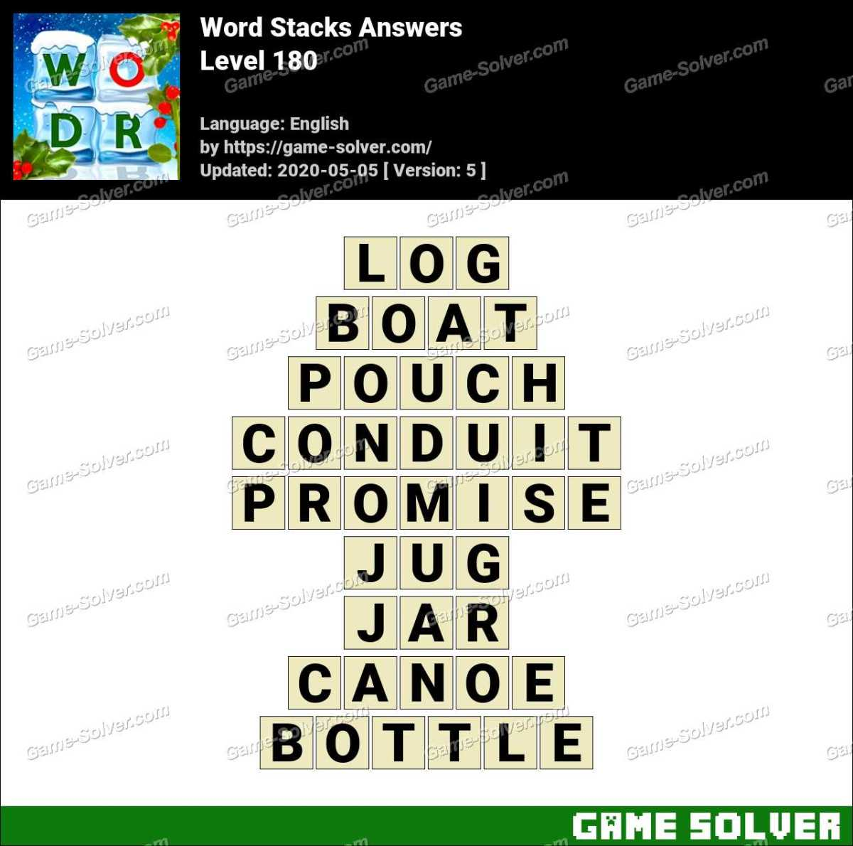 Word Stacks Level 180 Answers Game Solver