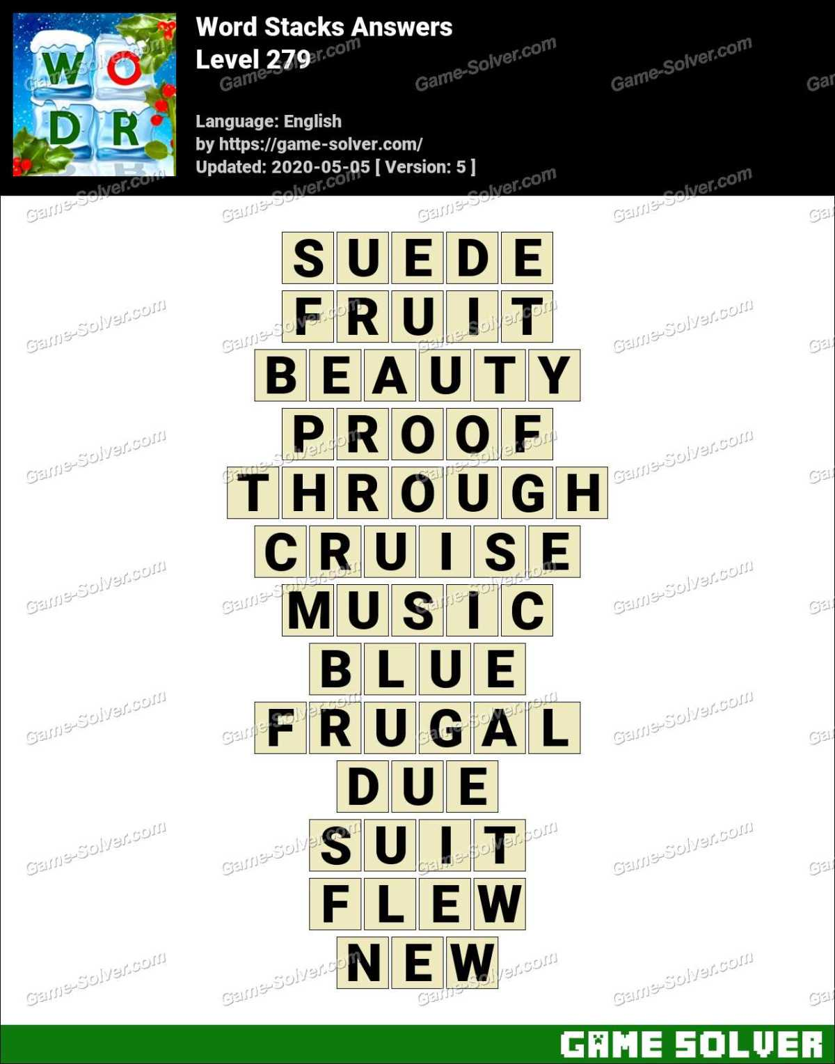 Word Stacks Level 279 Answers