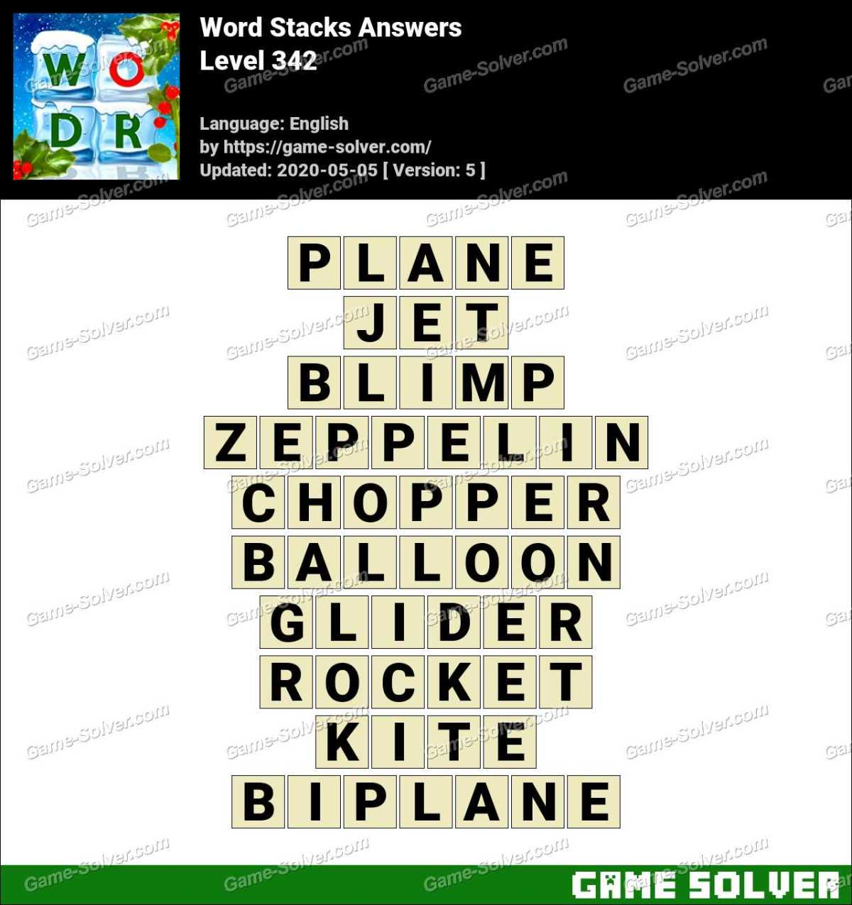 Word Stacks Level 342 Answers