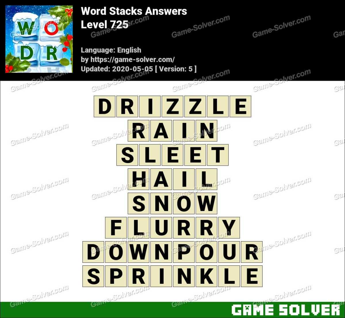 Word Stacks Level 725 Answers